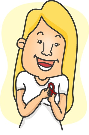 advocacy: Illustration of a Girl Wearing a Ribbon in Support of an Advocacy