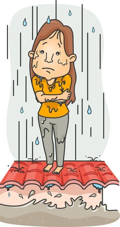 rain cartoon: Illustration of a Girl Caught in the Middle of a Typhoon