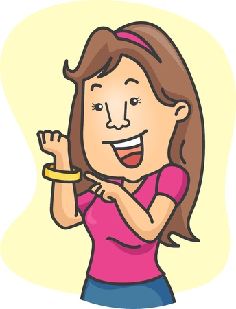 wristband: Illustration of a Girl Wearing a Wristband in Support of an Advocacy