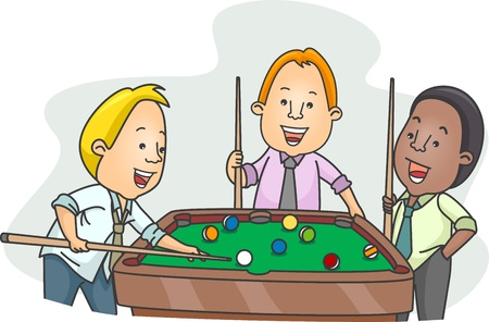 after to work: Ilustraci�n de hombres jugando billar despu�s del trabajo