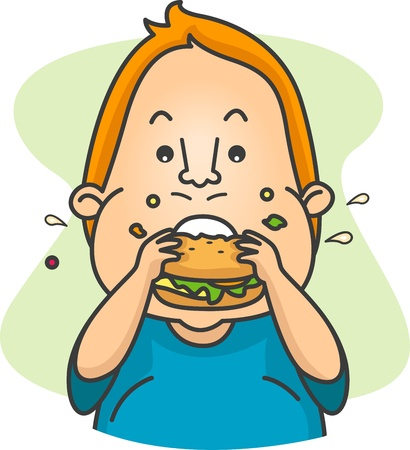 obese person: Illustration of a Man Eating a Burger Stock Photo
