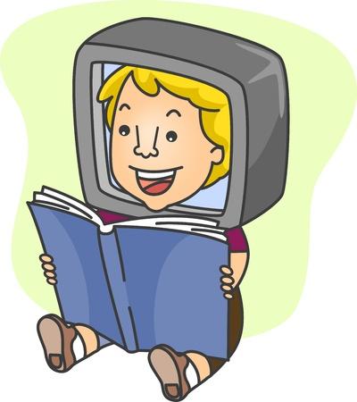 Illustration of a Man Reading Online illustration