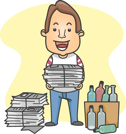 sort out: Illustration of a Man Organizing Things for Recycling Stock Photo