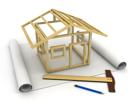 wood working: 3D Illustration of a Model Skeleton House on top of a Blank Plan