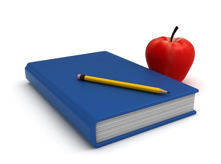 Illustration of a Book Pencil and Apple Stock Illustration - 8982205