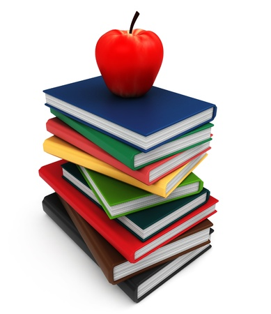 3D Illustration of a Pile of Books with an Apple on Top Stock Illustration - 8982213