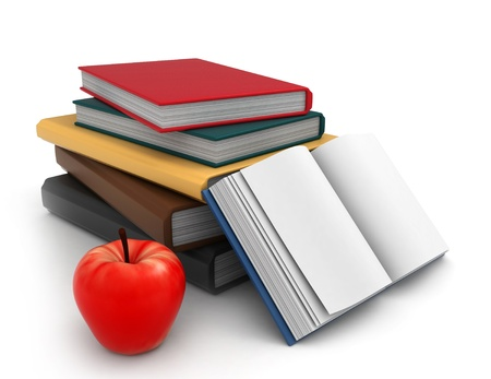 Illustration of a Pile of Books with an Apple Beside it Stock Illustration - 8982209