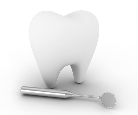 toothcare: 3D Illustration of a Tooth with a Dental Mirror