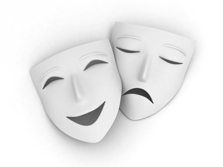 comedy and tragedy: 3D Illustration of a Pair of Masks Symbolizing the Comedy and Tragedy Stock Photo