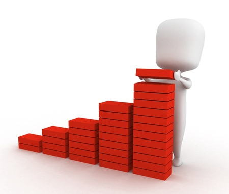 adding: 3D Illustration of a Man Adding a Brick to a Bar Graph