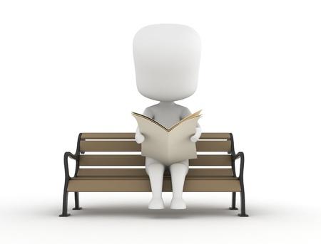 3D Illustration of a Man Reading a Newspaper Stock Illustration - 8982153