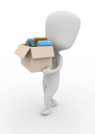 3D Illustration of a Man Carrying a Box Full of Books illustration
