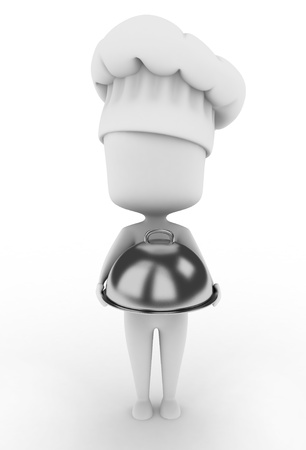 serving tray: 3D Illustration of a Chef Holding a Serving Tray