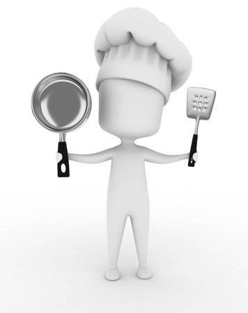 pans: 3D Illustration of a Chef Holding Kitchen Utensils Stock Photo