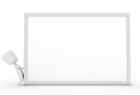 3D Illustration of a Man Dragging a White Board Stock Illustration - 8982152