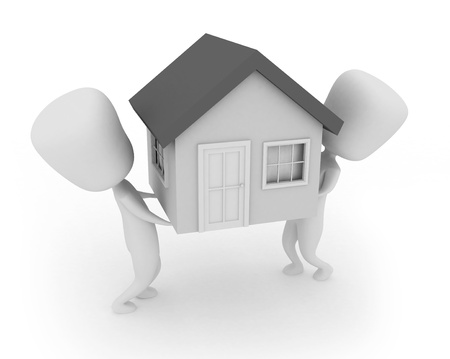 movers: 3D Illustration of Two Men Lifting a Model House