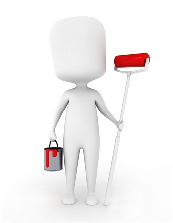 3D Illustration of a Man Carrying a Paintbrush and a Bucket of Paint Stock Illustration - 8982156