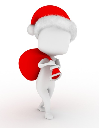 3D Illustration of a Man in Santa Claus Costume Carrying a Bag of Toys Stock Illustration - 8982193