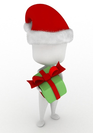 3D Illustration of a Man Giving a Christmas Gift illustration