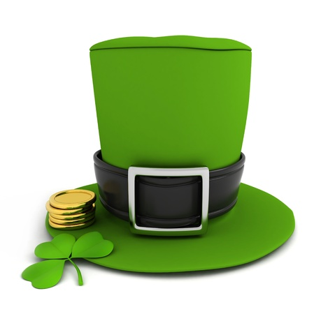 leprechauns hat: 3D Illustration of a leprechauns hat, shamrock and some gold coins