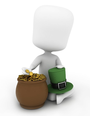 leprechauns hat: 3D Illustration of a Man Sitting Beside a Pot of Gold