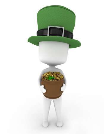 leprechaun's hat: 3D Illustration of a Man Carrying a Pot of Gold Stock Photo