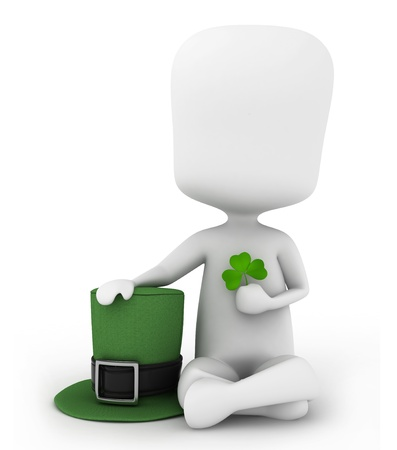 leprechauns hat: 3D Illustration of a Man Holding a Leprechauns Hat and a Shamrock