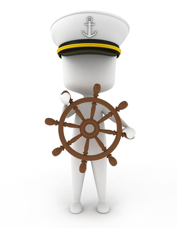 navigator: 3D Illustration of a Ship Captain Stock Photo
