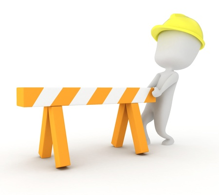 putting: 3D Illustration of a Man Putting Up a Barrier