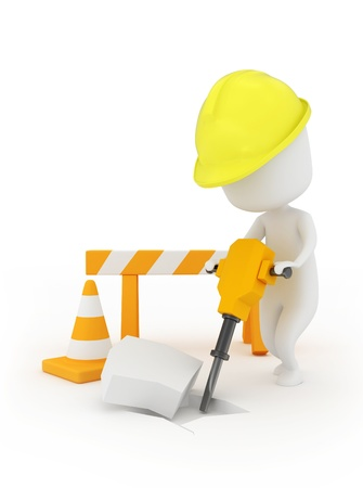 3D Illustration of a Man Using a Jackhammer illustration