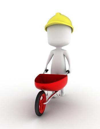 Ilustración 3D de un hombre moviendo una carretilla