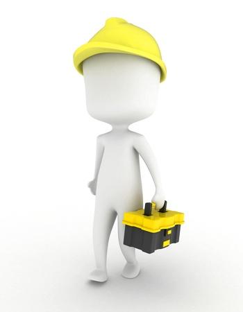 Ilustración 3D de un hombre llevando una caja de herramientas Foto de archivo - 8993541