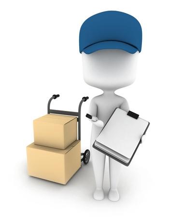 3D Illustration of a Delivery Man Delivering Packages Stock Illustration - 8993553