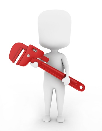pipe wrench: 3D Illustration of a Plumber Holding a Large Pipe Wrench Stock Photo