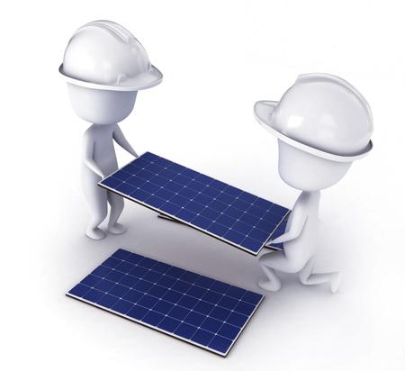 install: 3D Illustration of Men Installing Solar Panels Stock Photo