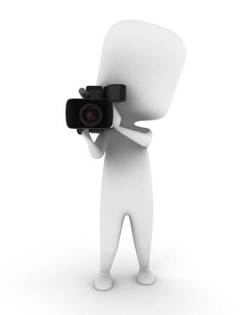 3D Illustration of a Videographer Holding a Video Camera Stock Illustration - 8993536