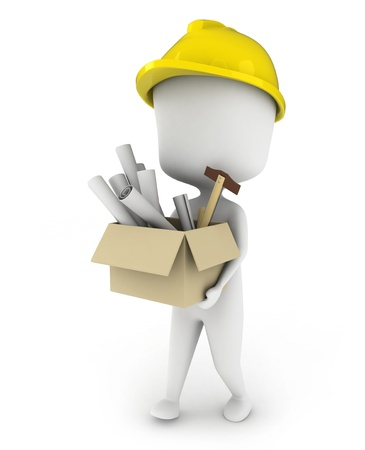 3D Illustration of an Architect Carrying a Box Full of Plans Stock Illustration - 8993530