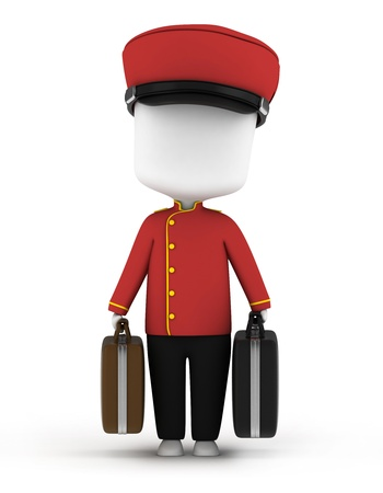 bellboy: 3D Illustration of a Bellboy Carrying Luggage