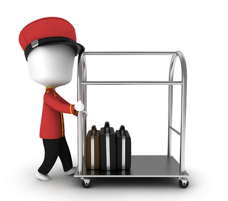 containing: 3D Illustration of a Bellboy Pushing a Tray Containing Luggage