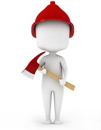 3D Illustration of a Fireman Holding an Axe Stock Illustration - 8993531