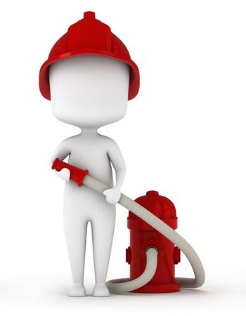 manguera: Ilustraci�n 3D de un bombero con una manguera