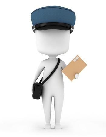 3D Illustration of a Mailman Carrying a Letter illustration