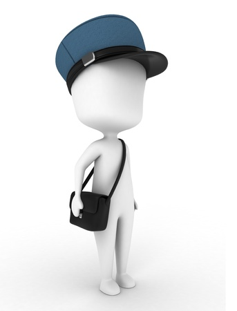 deliver: 3D Illustration of a Mailman on His Way to Deliver Letters