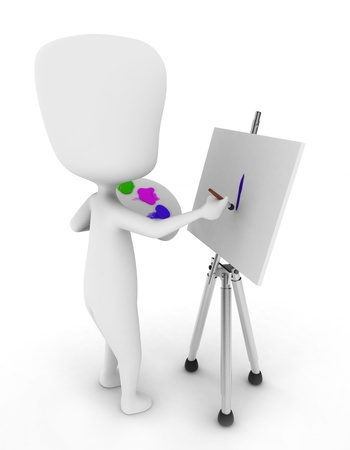 3D Illustration of a Painter Painting on His Canvas illustration
