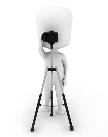hobbyist: 3D Illustration of a Man Using a Camera Mounted on a Tripod