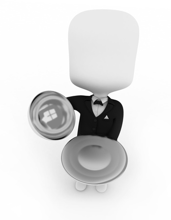 3D Illustration of a Waiter Carrying a Serving Tray illustration