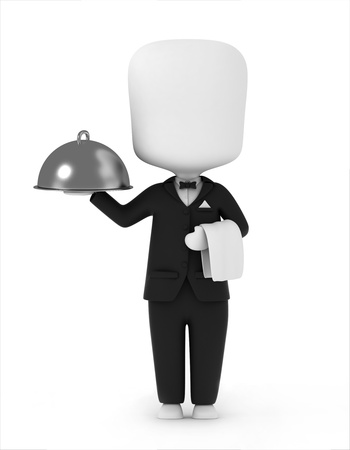 serving tray: 3D Illustration of a Waiter Carrying a Serving Tray and a Towel