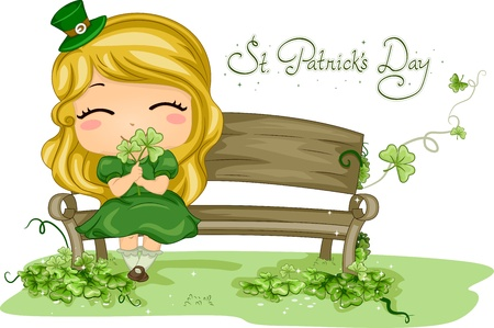 leprechauns hat: Illustration of a Girl Holding a Shamrock