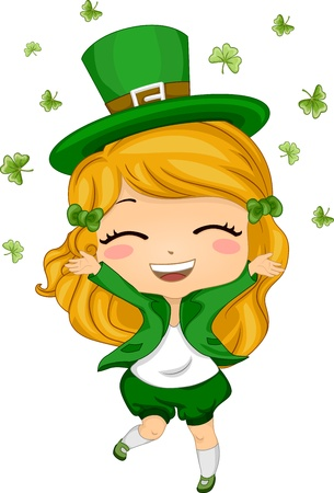 cartoon shamrock: Illustration of a Girl Throwing Shamrocks in the Air Stock Photo