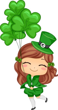 Illustration of a Girl Holding Shamrock-shaped Balloons illustration